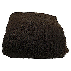 Tesco Teddy Fur Throw, Chocolate