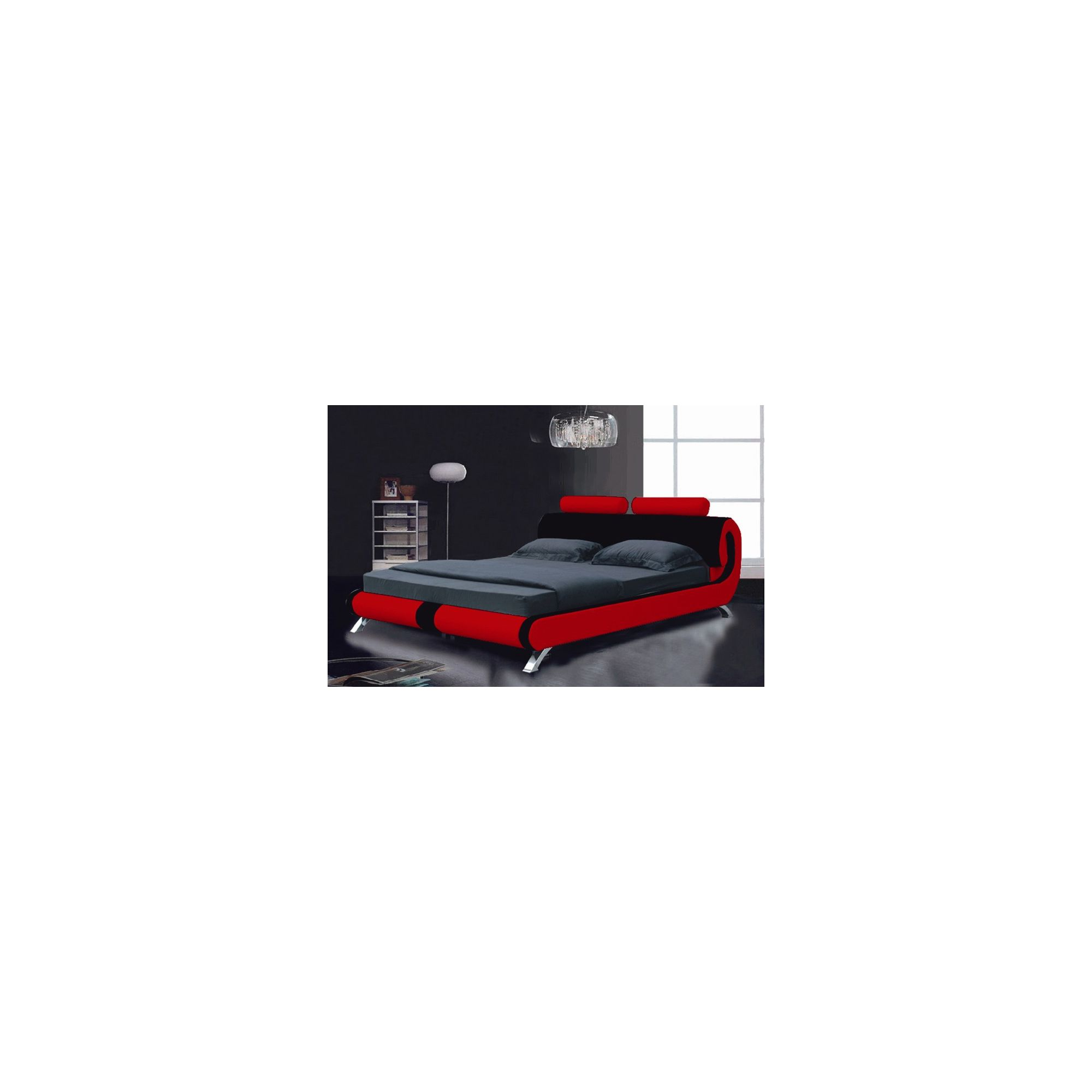 Giomani Designs Designer Curve Bed - Red / Black - Double at Tesco Direct