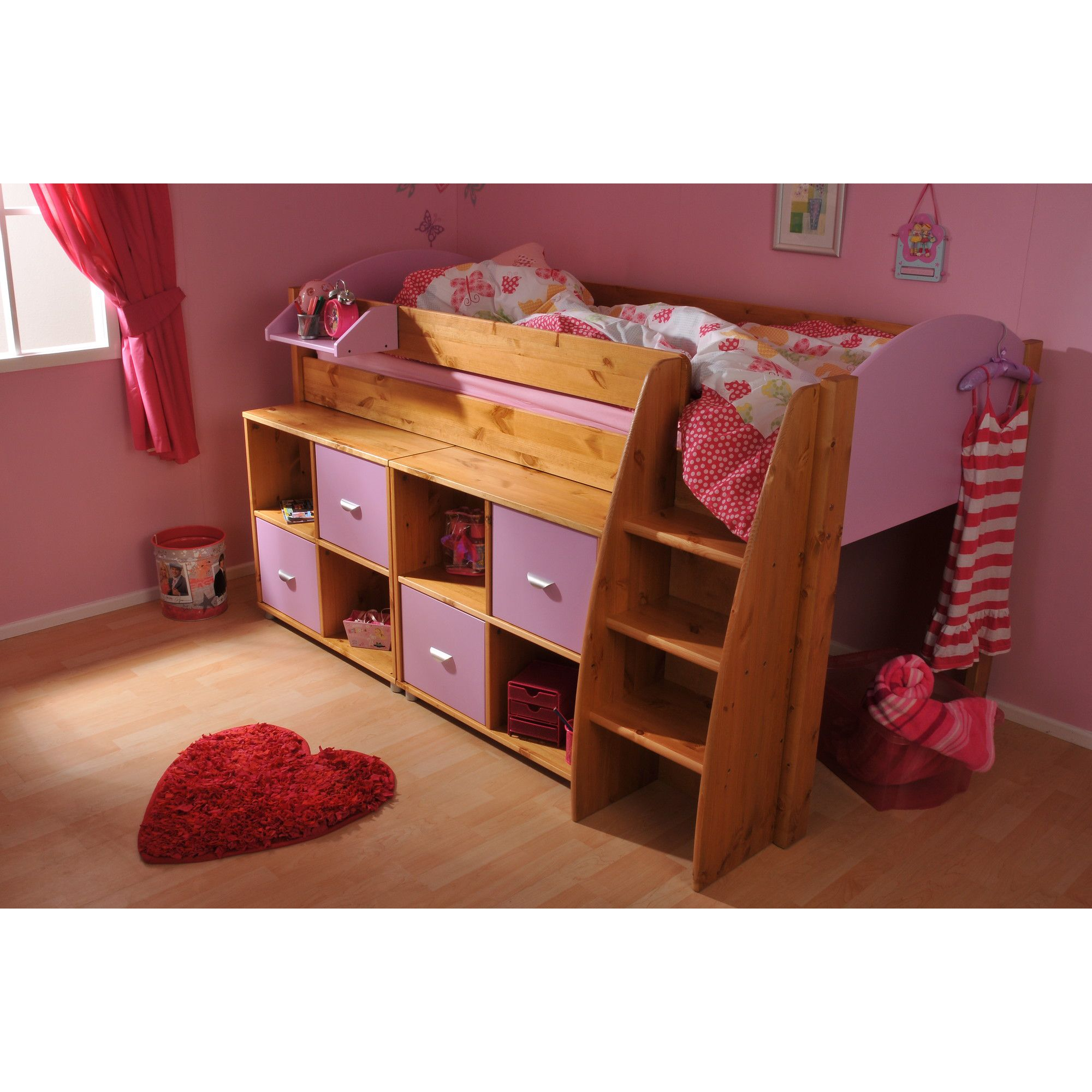 Stompa Rondo Mid Sleeper with 8 Cube Unit - Antique - Lilac at Tesco Direct
