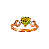 QP Jewellers Diamond & Peridot Trinity Heart Ring in 14K Rose Gold