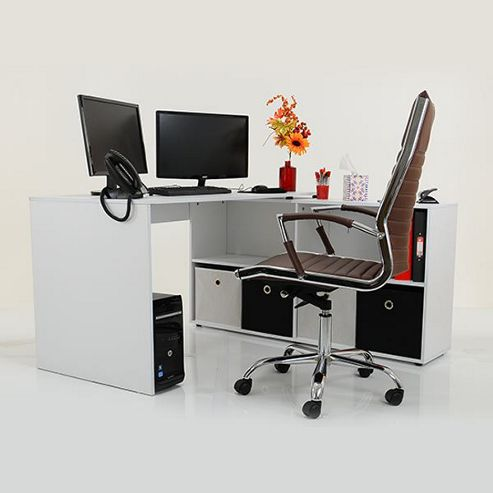 Buy kanta corner multi position office desk white black drawers from our workstations pc - Tesco office desk ...