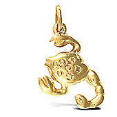 Jewelco London Solid Gold hand finished Scorpio star sign zodiac pendant (Height includes Bale/Loop)