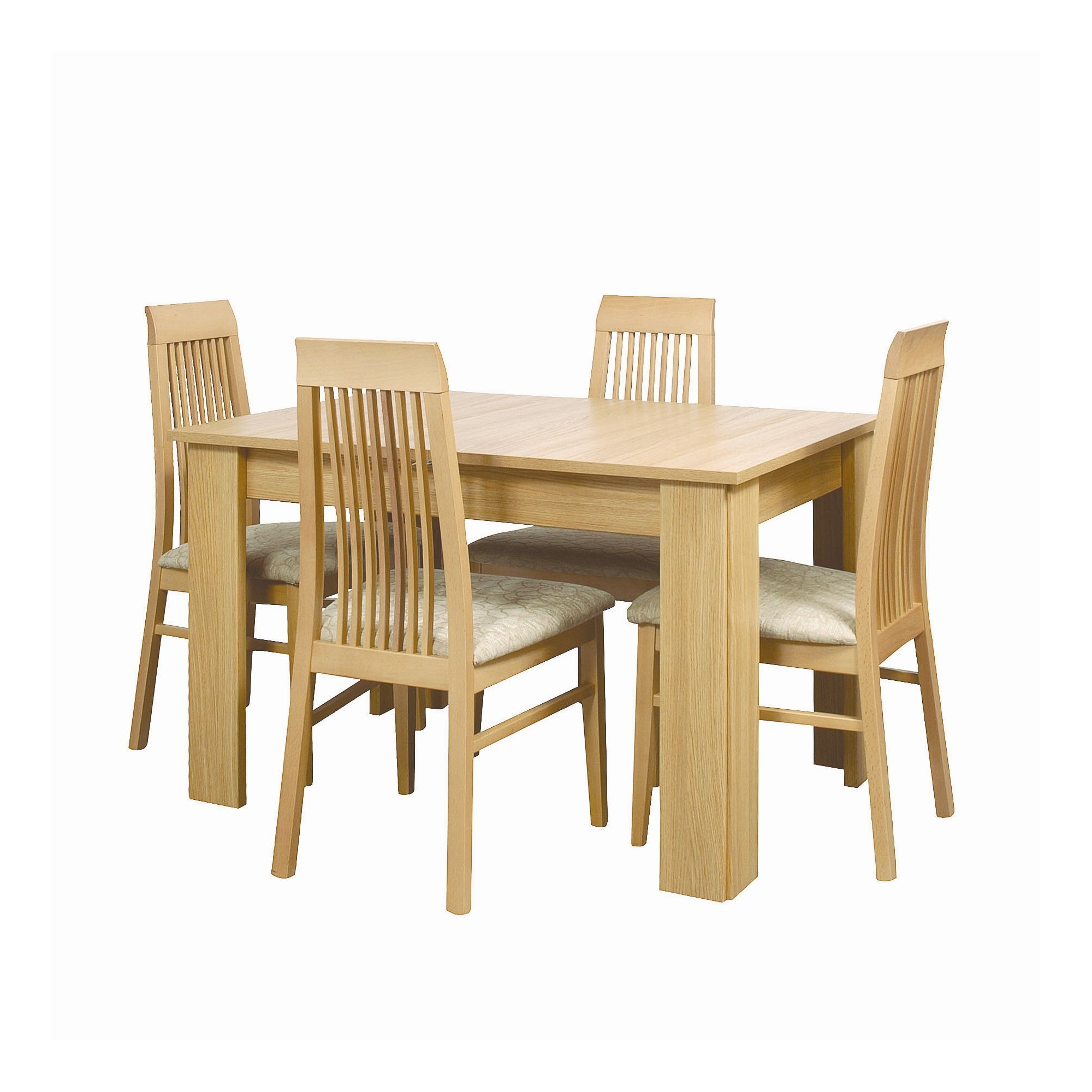 Caxton Huxley 4 Leg Extending Dining Table with 4 Chairs in Light Oak at Tesco Direct