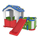 Sunshine Childrens Modular Playhouse With Play Pen & Slide (Blue/Red)