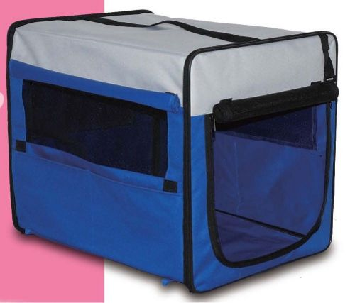 3Petzzz Fold Flat Fabric Pet Crate in Navy Blue - Small (46cm L x 38cm W x 41cm H)
