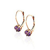 QP Jewellers 1.20ct Amethyst Boston Leverback Earrings in 14K Rose Gold