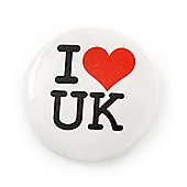 'I Heart Love UK' Lapel Pin Button Badge - 3cm Diameter