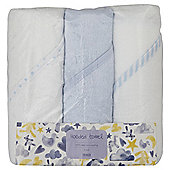 3 Pack Hooded Baby Towels - Blue