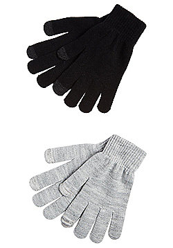 F&F 2 Pair Pack of Touch Screen Gloves - Black & Grey