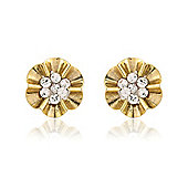 Jewelco London 9ct Yellow Gold - Flower Crystal-set Stud - Earrings - Ladies