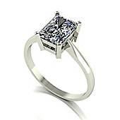 18ct White Gold 8x6 Radiant Cut Moissanite Single Stone Ring