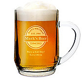 Personalised Established Beer Label Pint Glass Tankard