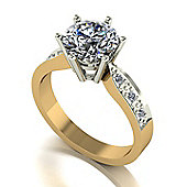 18ct Gold 8.0mm Moissanite Single Stone Ring with Moissanite Set Shoulders