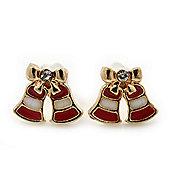 Children's/ Teen's / Kid's Tiny Red/ White Enamel 'Christmas Jingle Bell' Stud Earrings In Gold Plating - 8mm Length