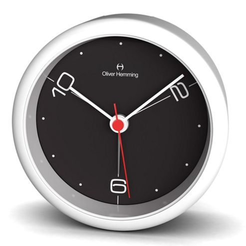 Oliver Hemming Acrylic Handy Night Light Alarm Clock - White/Black