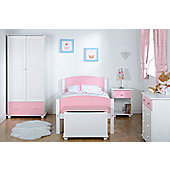 Home Essence Rainbow Single Drawer Beside Table - Pink / White