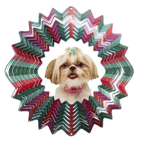 Iron Stop Designer Glitter Shih Tzu Wind Spinner 10in