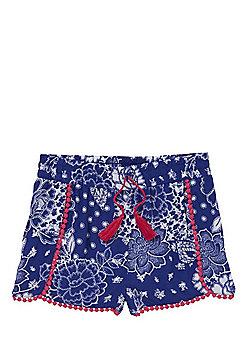 F&F Pom Pom Lace Trim Floral Print Shorts - Multi
