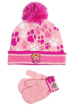 Nickelodeon Paw Patrol Skye Bobble Hat and Mittens Set - Pink