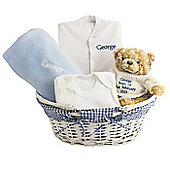 Personalised Blue Baby Gift Set Basket