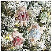 Weiste Mini Fabric Angel Christmas Tree Decorations, 3 pack