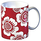 Tesco Single Porcelain Contemporary Flower Mug, Red