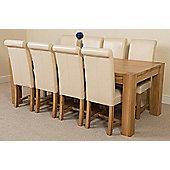 Kuba Chunky Solid Oak 220 cm with 8 Ivory Washington Chairs