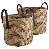 Water Hyacinth Set Of 2 Baskets With Handles