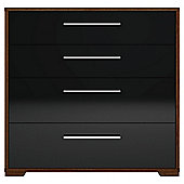 Modular Walnut 4 Drawer Chest With Iblack Gloss Drawers