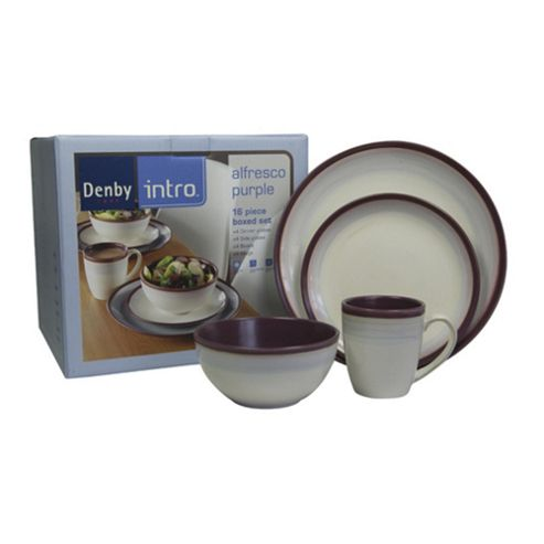 buy denby intro 16 piece 4 person dinner set purple from. Black Bedroom Furniture Sets. Home Design Ideas