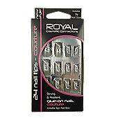 Royal 24 pcs Couture Nail Tips-Silver Swirls