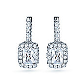The REAL Effect Rhodium Coated Sterling Silver Cubic Zirconia Rectangle, Large Ctr Drop Earrings