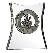 Premier Housewares Crystal Table / Mantle Clock Flared Square - Silver