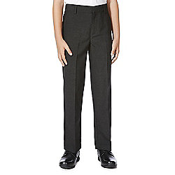 F&F School Boys Flat Front Slim Leg Trousers