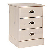 Terra Bedside 3 Drawers In Pine/White