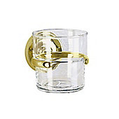Smedbo Villa Holder with Glass Tumbler - Polished Brass
