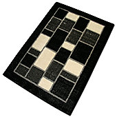 Pharmore Ltd Black Cut and Loop Rug - 220 cm x 160 cm (7 ft 3 in x 5 ft 3 in)