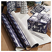 Blue and Silver Geo Tree Christmas Wrapping Paper, 3m
