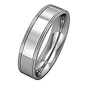 9ct White Gold - 5mm Essential Flat-Court Track Edge Band Commitment / Wedding Ring -