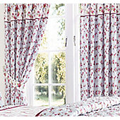 Blue and White Floral Rosebud Curtains 72s - Kirsty