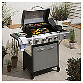 Premium 4 Burner Gas BBQ with Side Burner & Cover, Silver