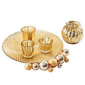 Six Piece Glass Tealight Holder Display Set in Gold