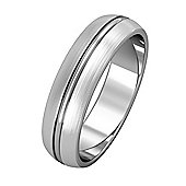 18ct White Gold - 5mm Essential D-Shaped Single Rib and Satin Edged Band Commitment / Wedding Ring -
