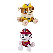 Paw Patrol Plush Bundle - 6'' Marshall And 6'' Rubble - 2 Items Supplied