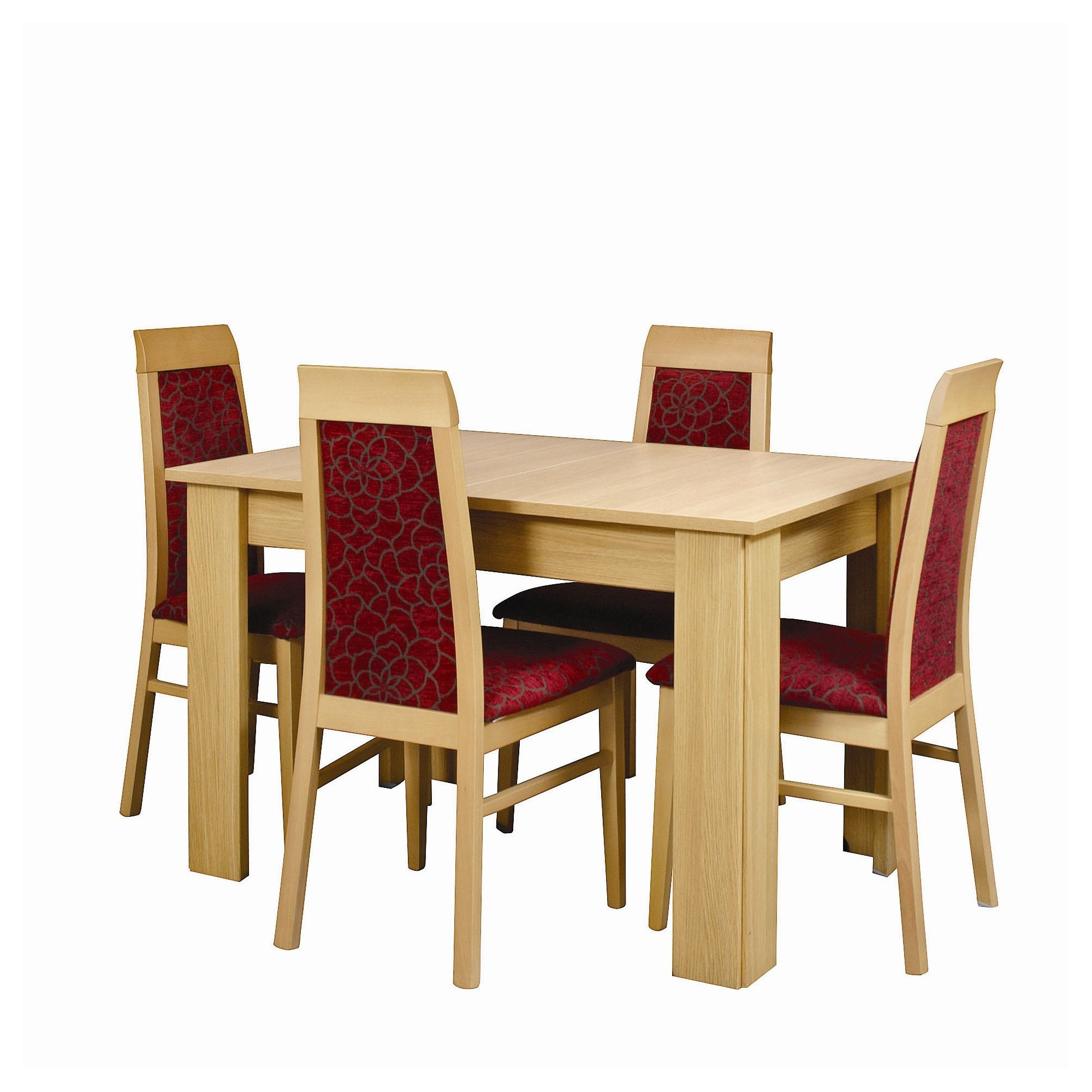 Caxton Huxley Dining Table Set with 4 Upholstered Dining Chairs in Light Oak at Tesco Direct