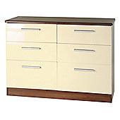 Welcome Furniture Knightsbridge 6 Drawer Chest - Walnut - Cream