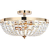 Home Essence Cardinalis Six Light 40W Semi Flush Ceiling Light - 13.5cm H x 43cm W x 42cm D - Chrome