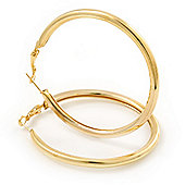 Large Classic Polished Gold Tone Hoop Earrings - 60mm Diameter