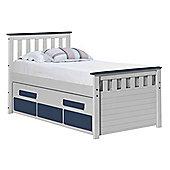 Captains Bergamo Guest Bed 3ft Whitewash With Blue Details