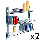 Isaac - Glass Wall Cd / Dvd / Blu-ray / Book Storage Shelves - 2 Pack